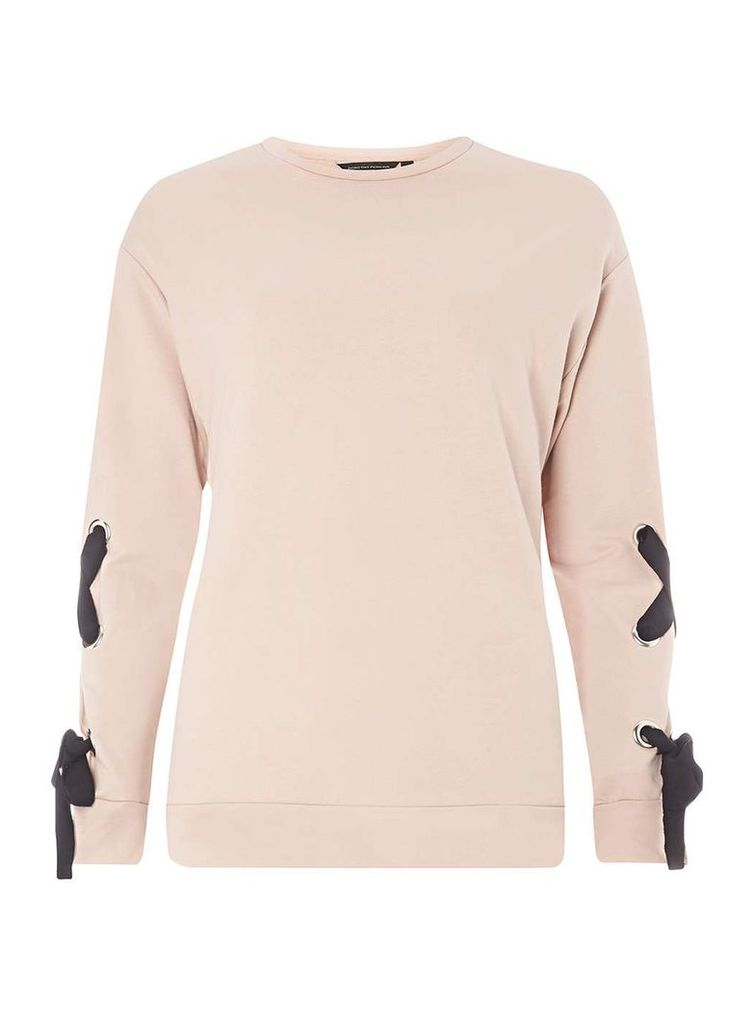 Womens Light Pink Tie Sleeve Sweat Top- Pink