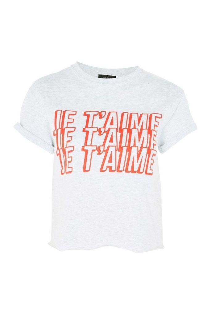 Womens PETITE 'Je Taime' Slogan Crop T-Shirt - Pale Grey, Pale Grey
