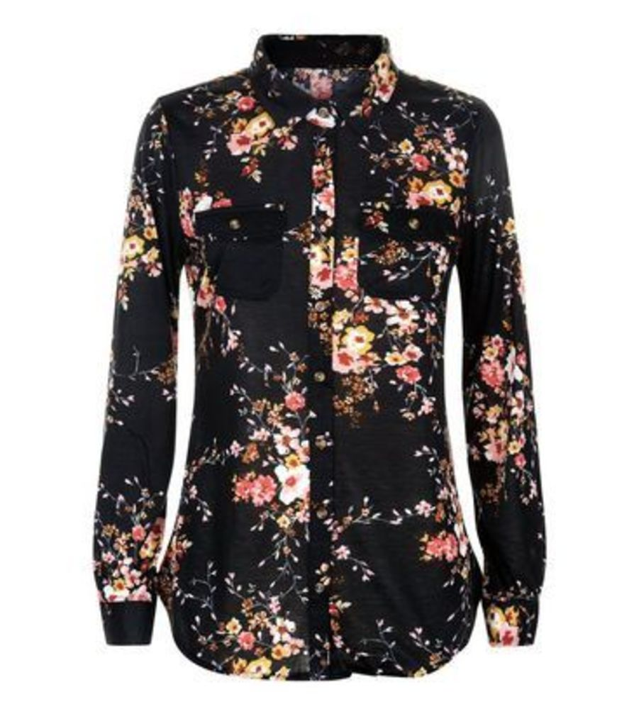 Apricot Black Floral Print Shirt New Look