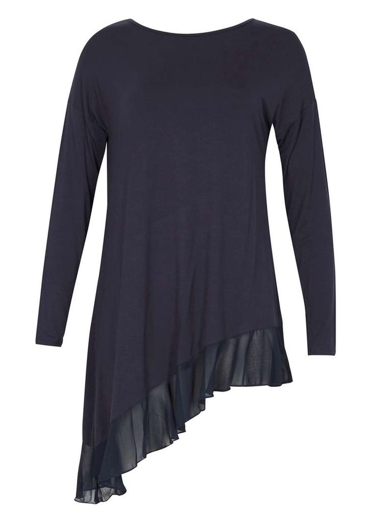 Womens *Izabel London Navy Asymmetric Top- Navy