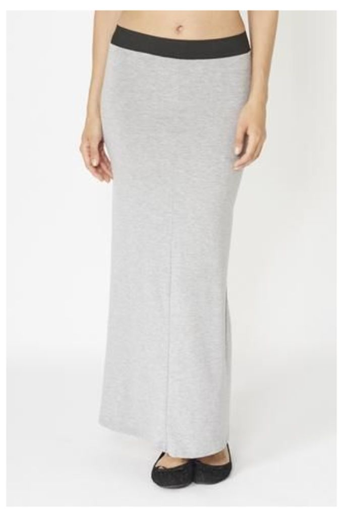 Simple Two Tone Jersey Maxi Skirt
