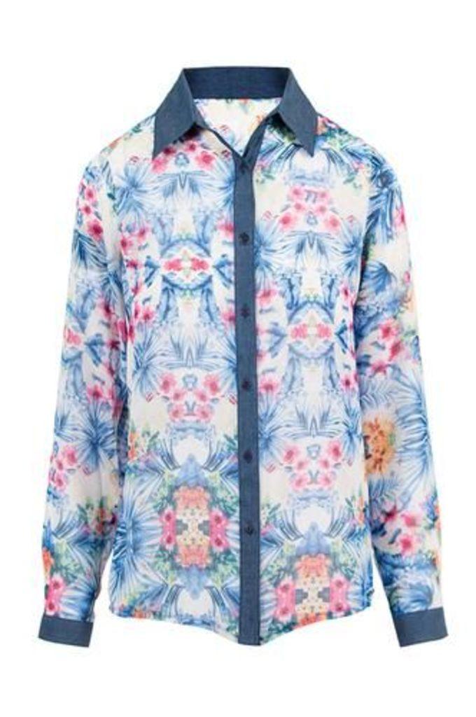 Tropical Palm Print Chiffon Shirt