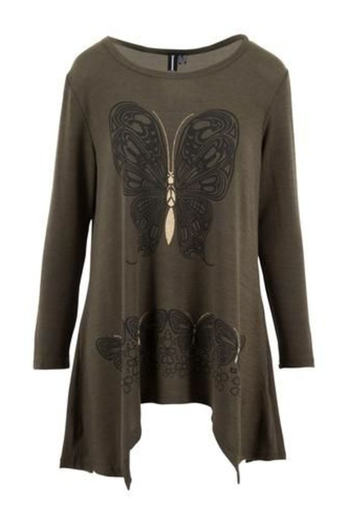 Swing Cut Tunic Top with Tattoo Butterfly Print