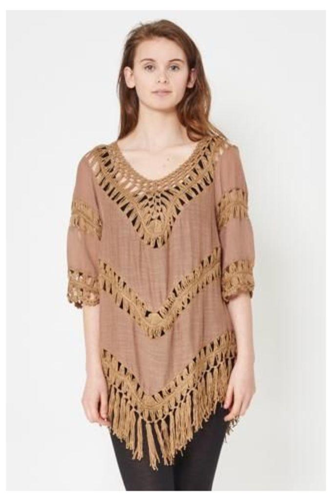 Crochet Fringed Hem Top