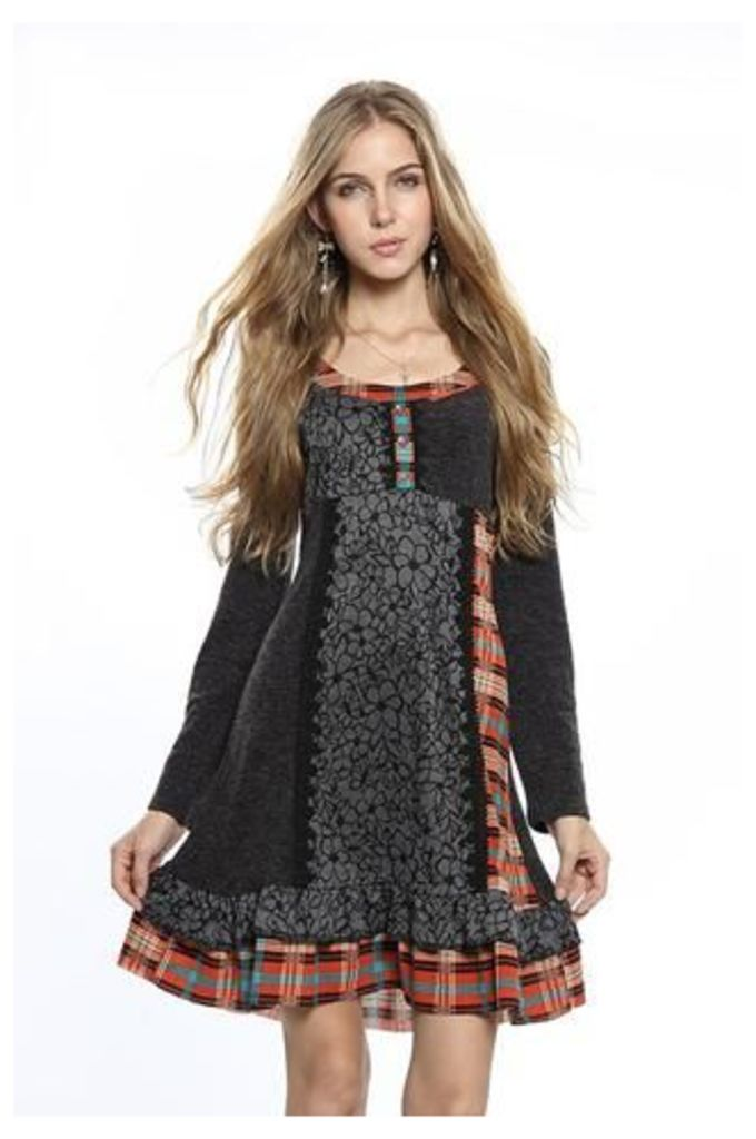 Patchwork Knit Fit And Flare Dress
