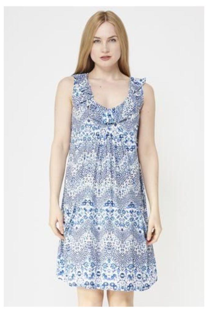 Ditzy Print Dress With Ruffled Neckline