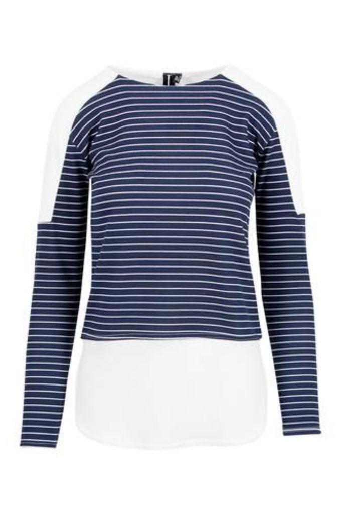 Horizontal Stripe Top with Shirttail Hemline