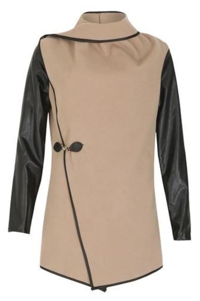 Contrast Leather Sleeve Jacket
