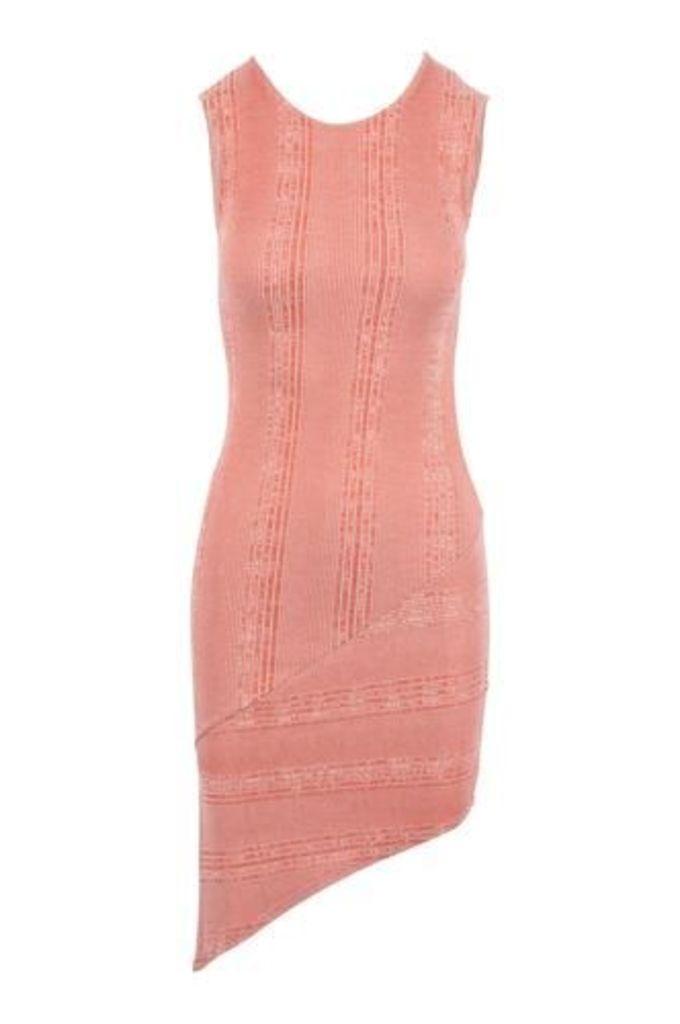 Sheath Midi Dress with Asymmetric Hemline