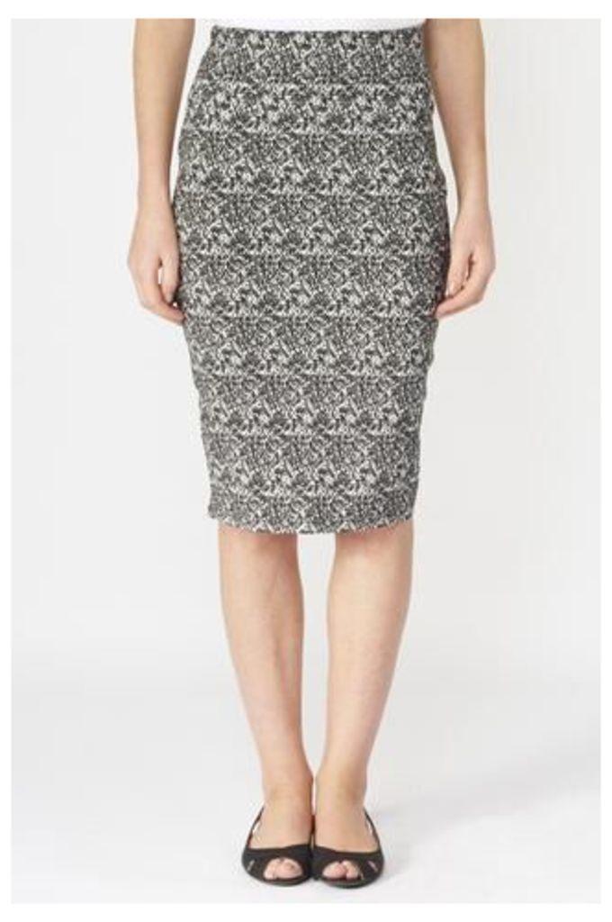 Monochrome Snakeskin Print Skirt
