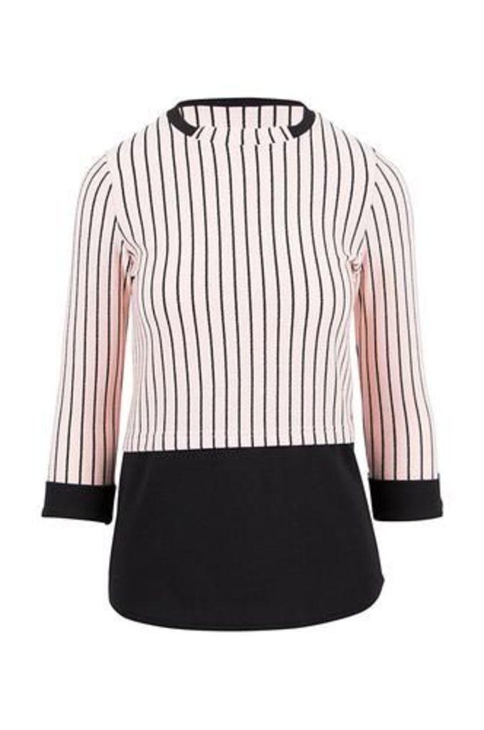 Pin Stripe Top With Shirttail Detail