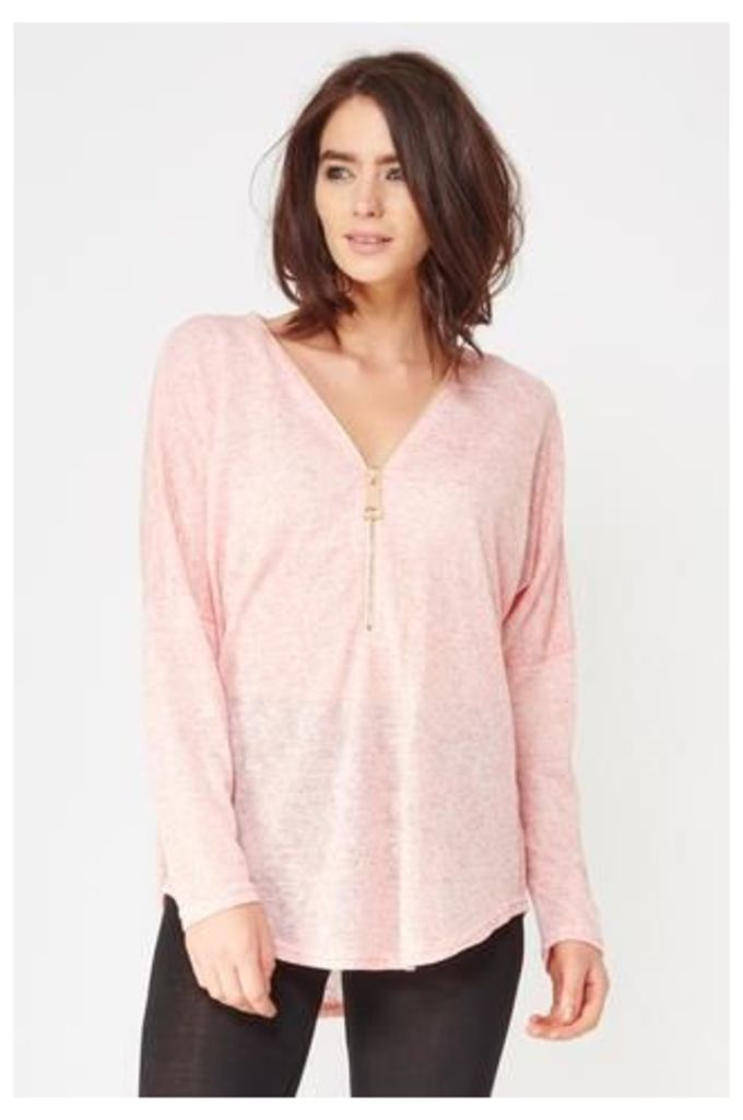 Batwing Top With Oversized Zip Detail