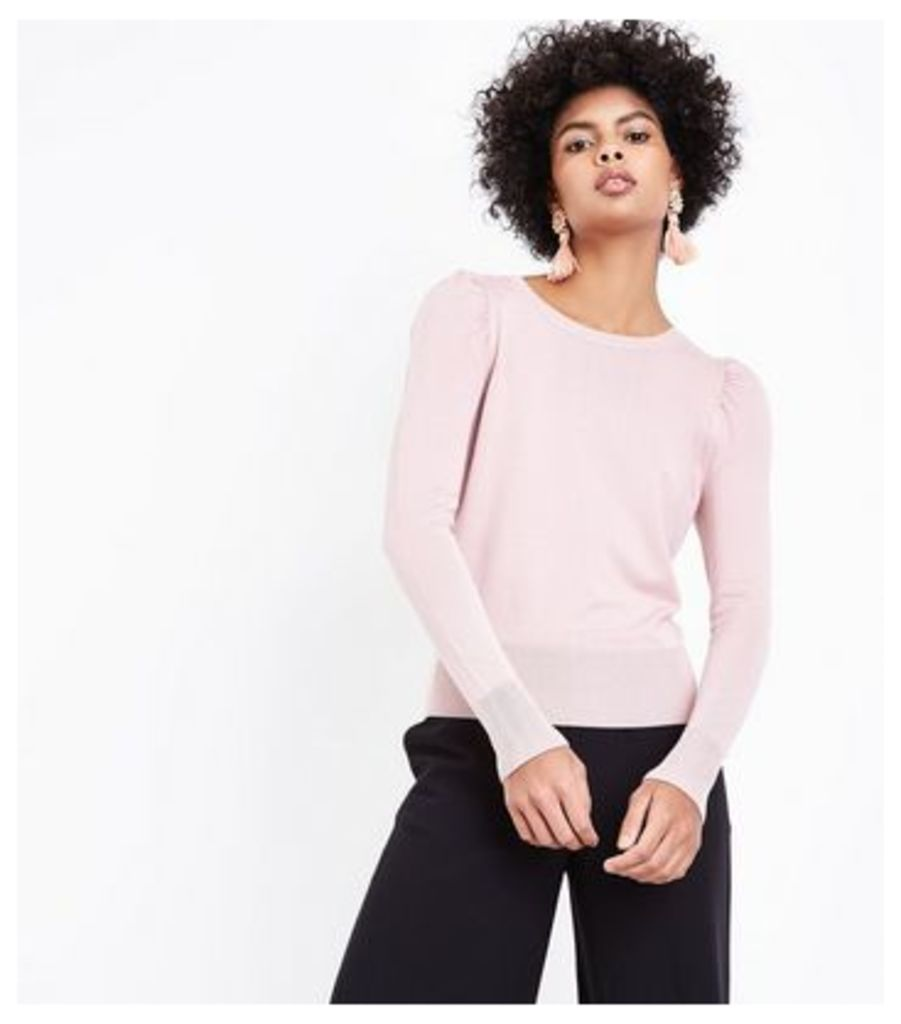 Shell Pink Puff Sleeve Jumper New Look