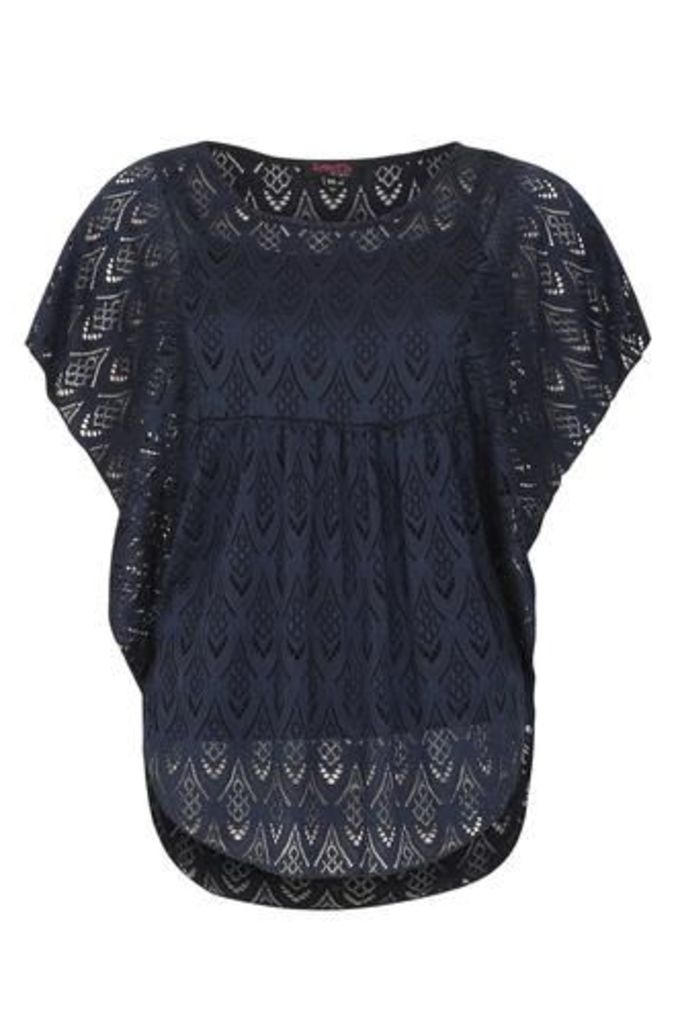 Patterned Lace Batwing Top