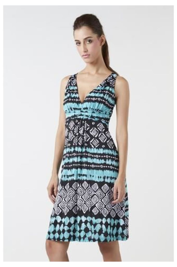 Multi Ethnic Print Fit And Flare Dress