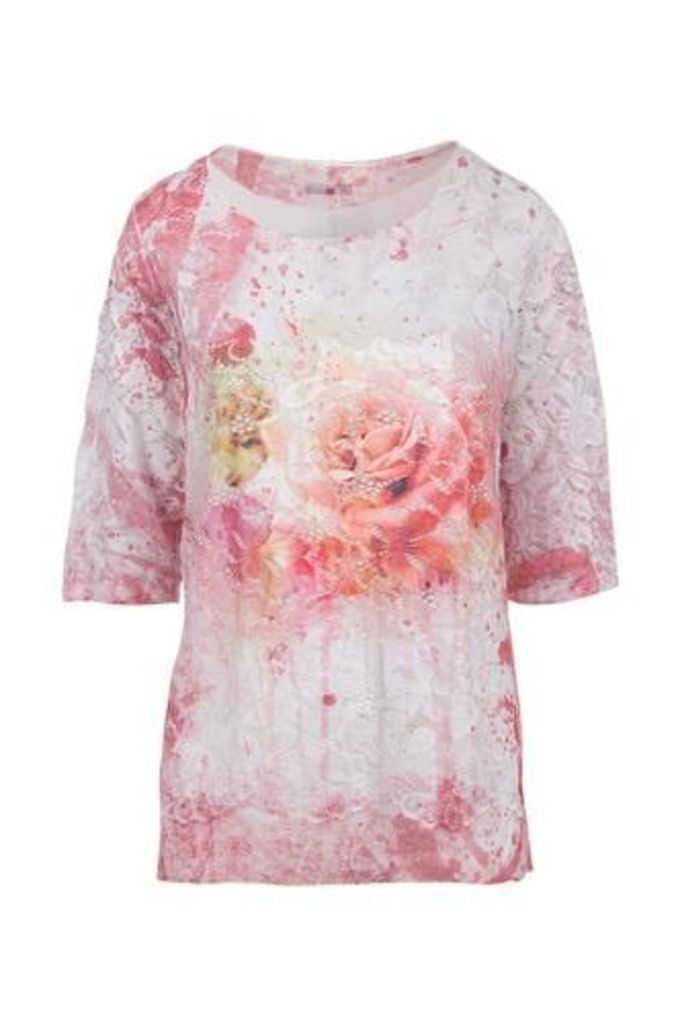 Oversized Lace Top With Tiered Hem