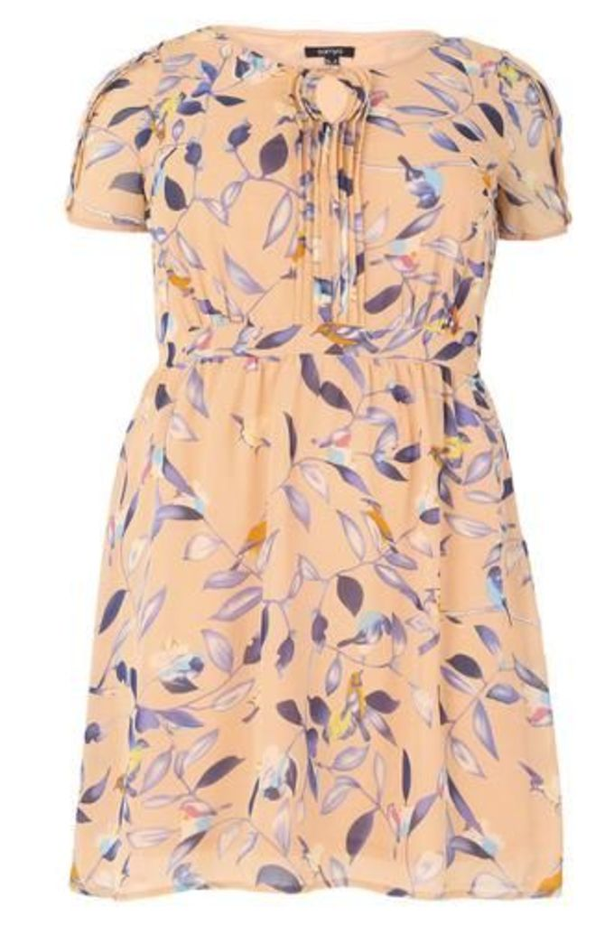 Plus Size Botanical Bird Print Dress