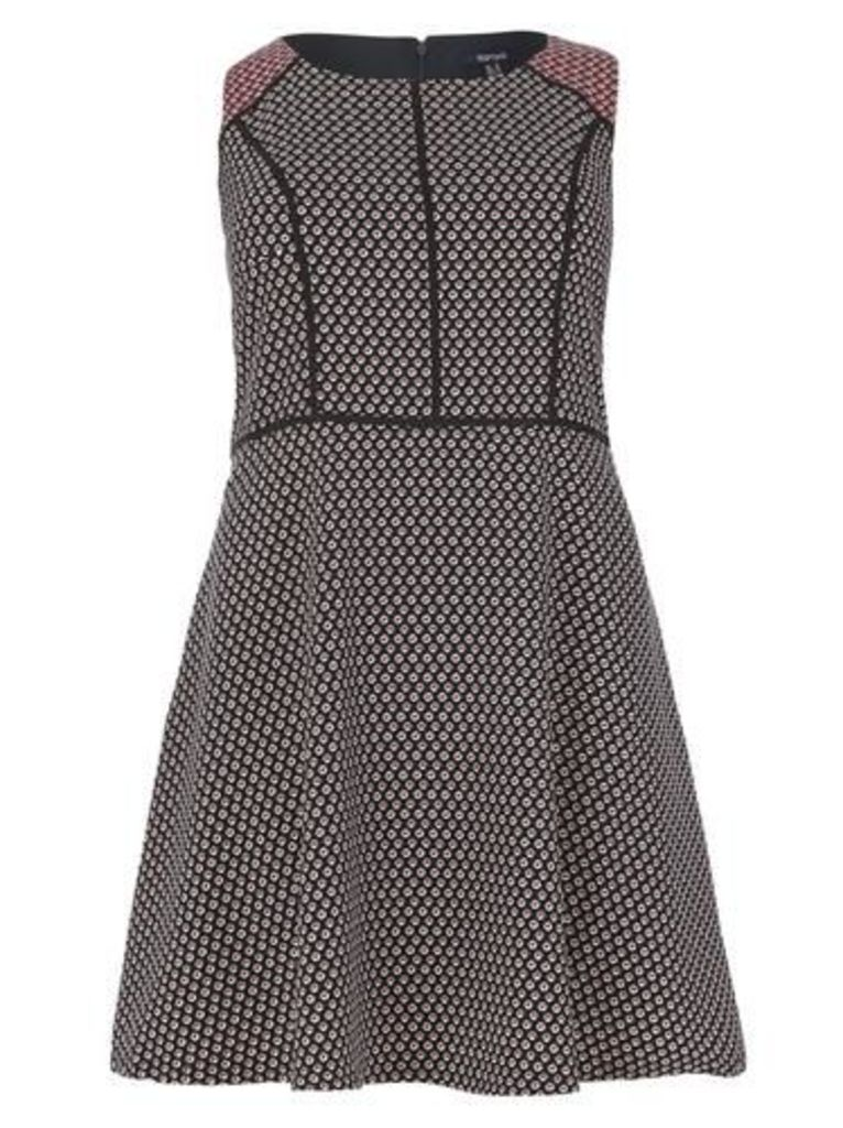 Plus Size Dash Print Fit and Flare Dress