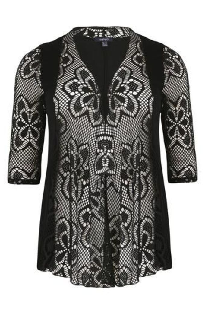 Plus Size Fishnet Waterfall Cover Up Cardigan