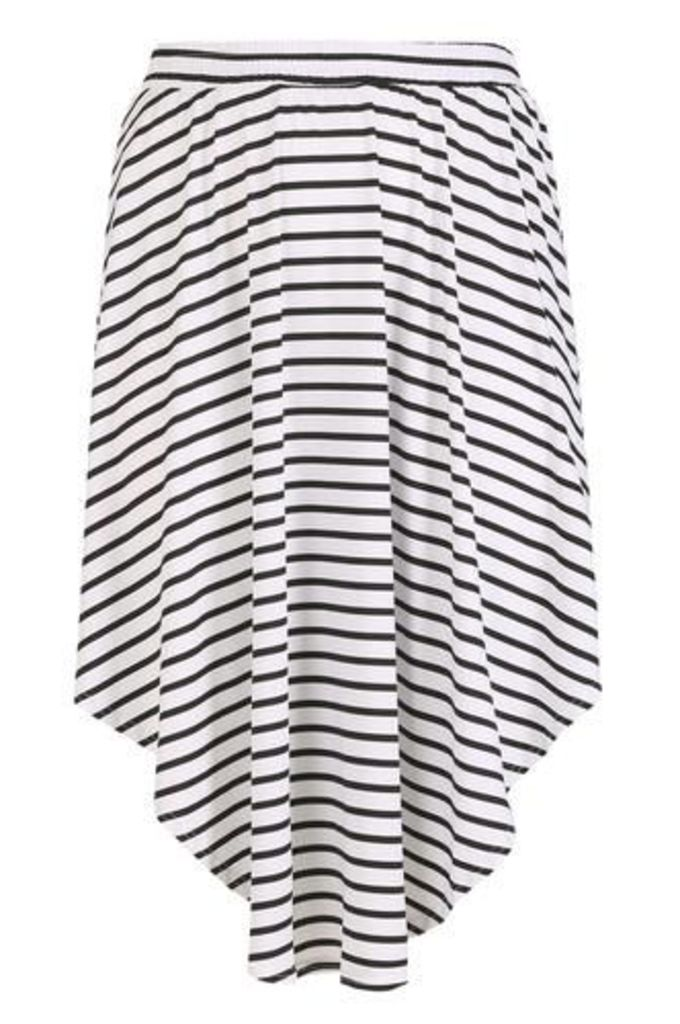 Plus Size Monochrome Horizontal Stripe Tulip Skirt