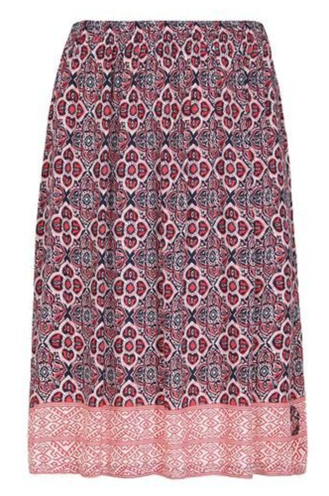 Plus Size Multi Print Midi Skirt With Split Details