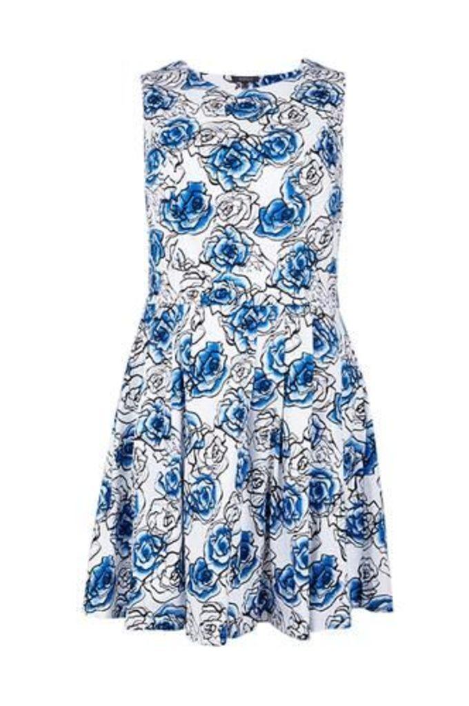 Plus Size Floral Print Skater Dress