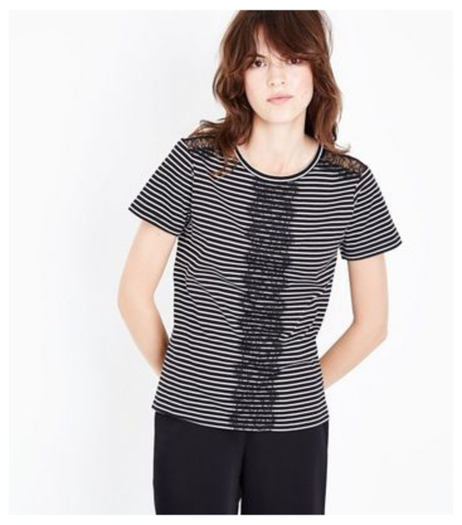 Black Stripe Lace Panel T-Shirt New Look