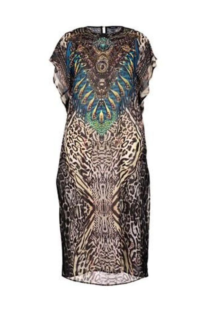 Plus Size Abstract Kaftan Dress
