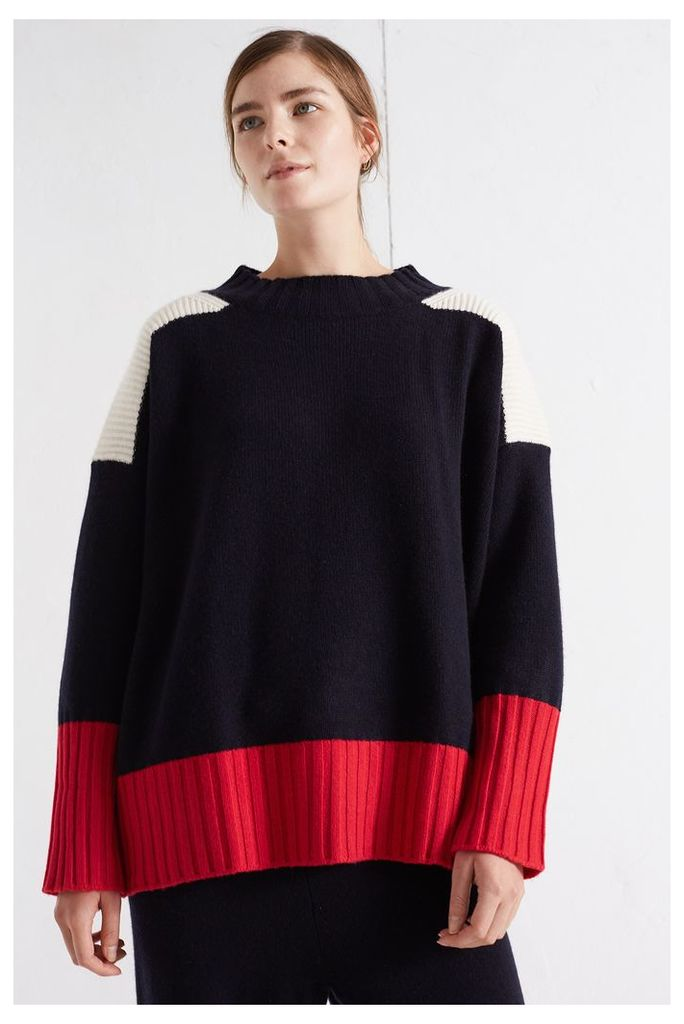 NEW Navy Ribbed Oversized Cashmere Sweater