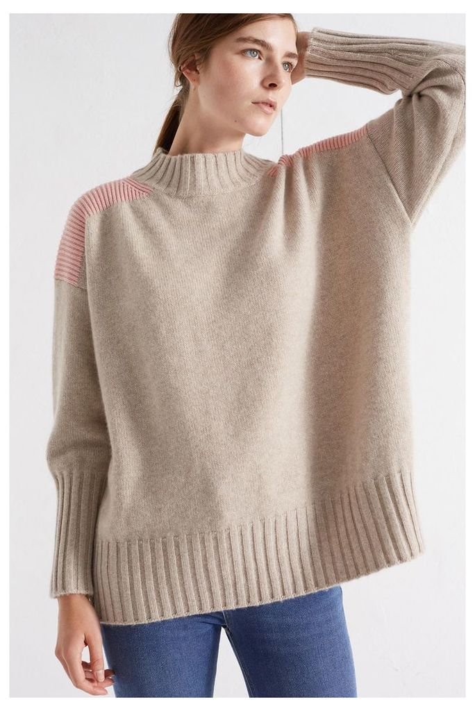 NEW Oatmeal Ribbed Oversized Cashmere Sweater