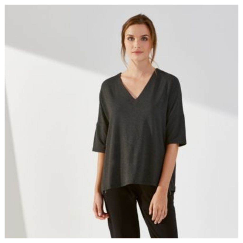 Drape V Neck Top - Dark Charcoal