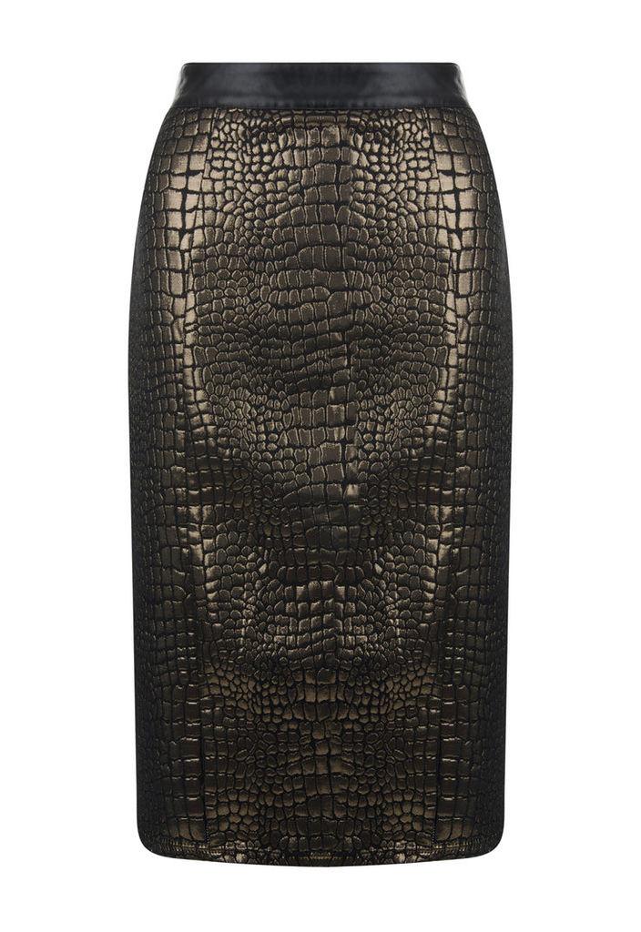 Madam Rage Snakeskin Metallic Skirt-16