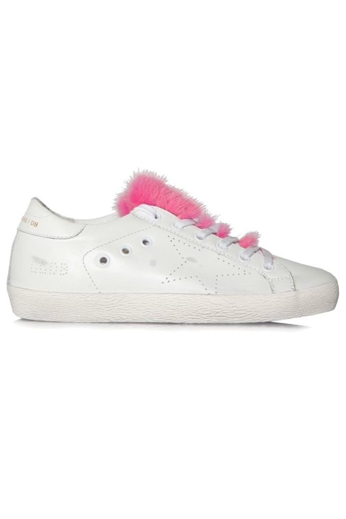 Sneakers Superstar White Leather Skate Fuxia Fur