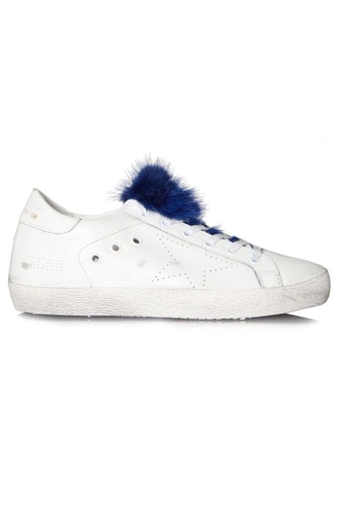 Sneakers Superstar White Leather Skate Bluette Fur