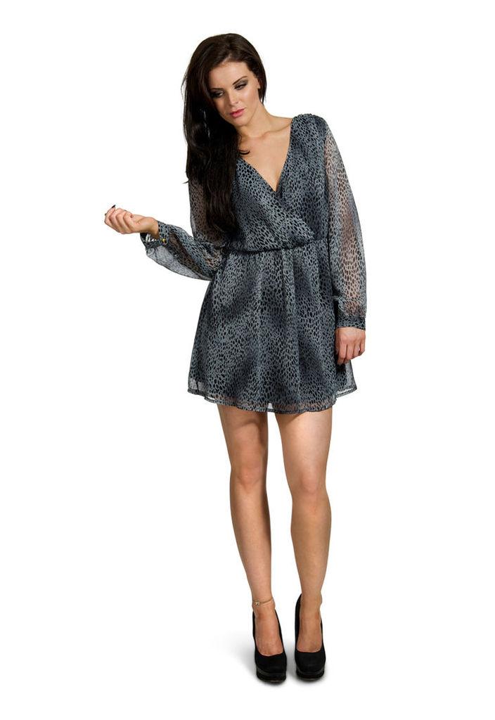 Madam Rage Grey Animal Print Wrap Dress