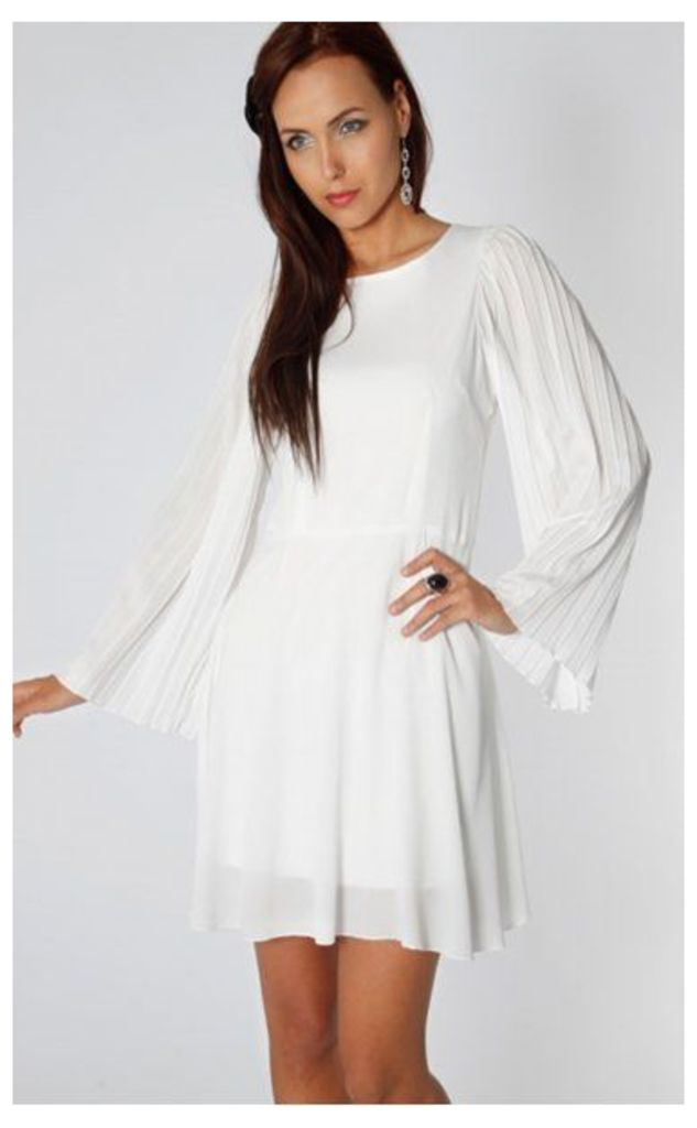 Mollie Low Back Flared Cocktail Dress In White