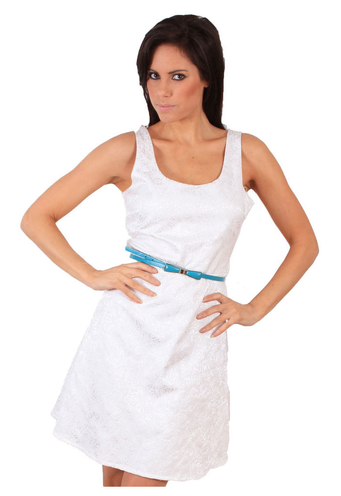 Madam Rage White Belted Skater Dress-12