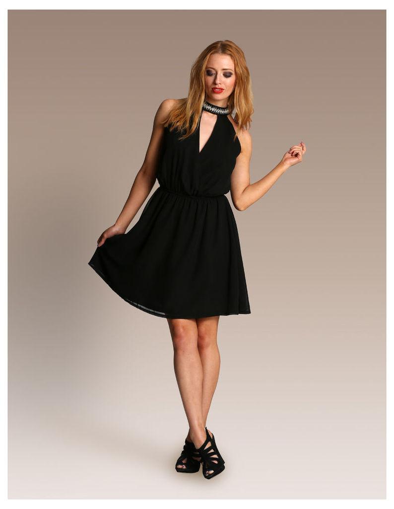 Embellished Halter Neck Dress-12