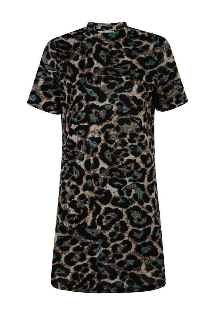 Animal Print Knitted Swing Dress-14