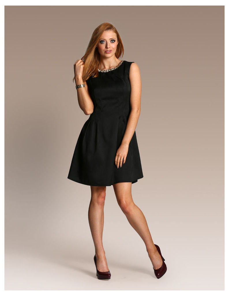 Fit and Flare Dress with Neck Embellishment-14