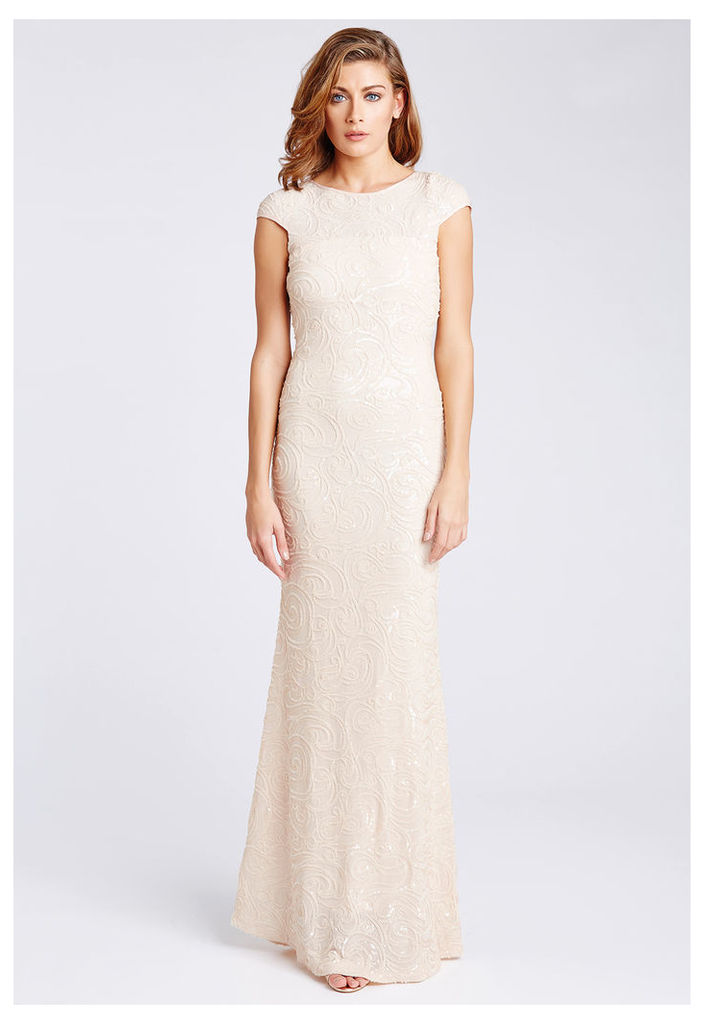 D.Anna Nude Sequin Embellished Maxi Dress