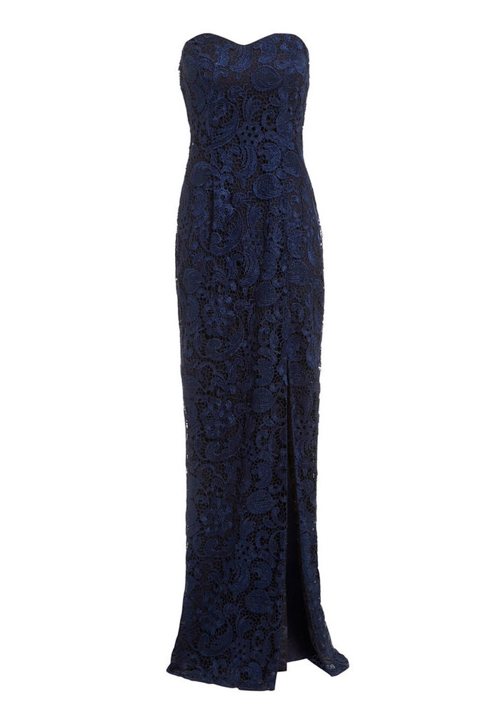 D.Anna Sweetheart Lace Maxi Dress in Navy