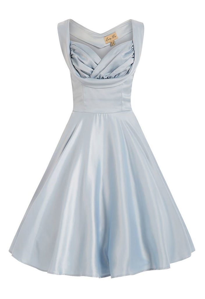 Lindy Bop Ophelia Satin Dress in Baby Blue