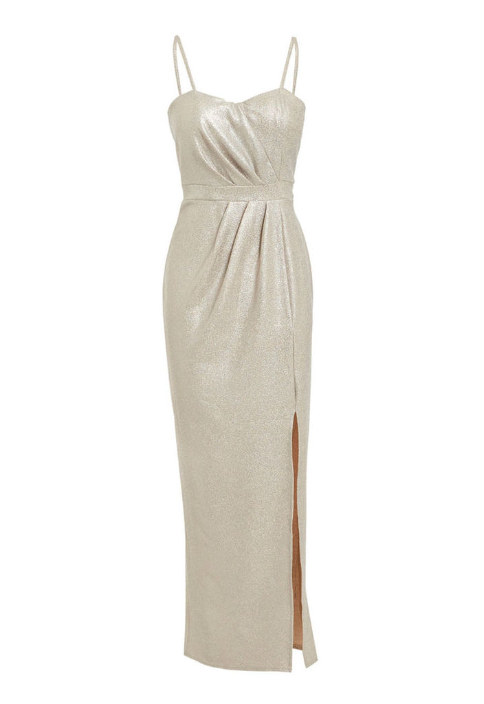 Elise Ryan Maxi Dress With Sweetheart Neckline In Silver