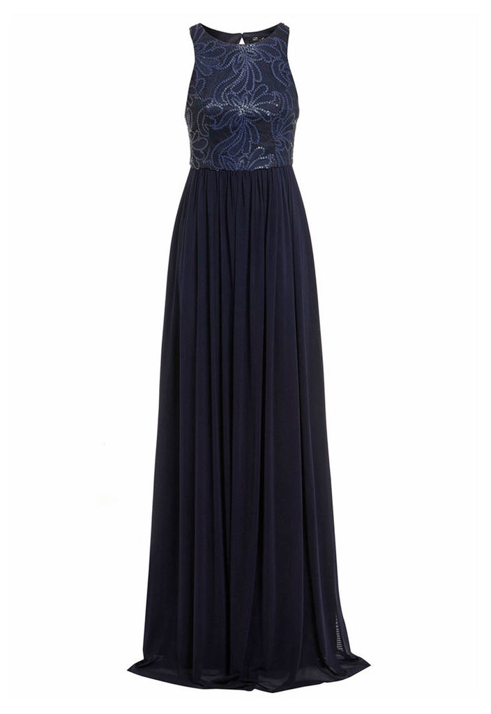 D.Anna Navy Maxi Dress With Sequin Embellishment