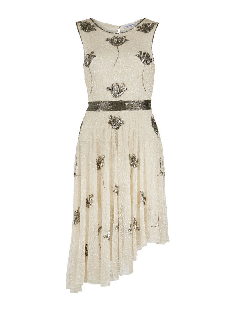 Gina Bacconi Floral Sequin and Beaded Dress