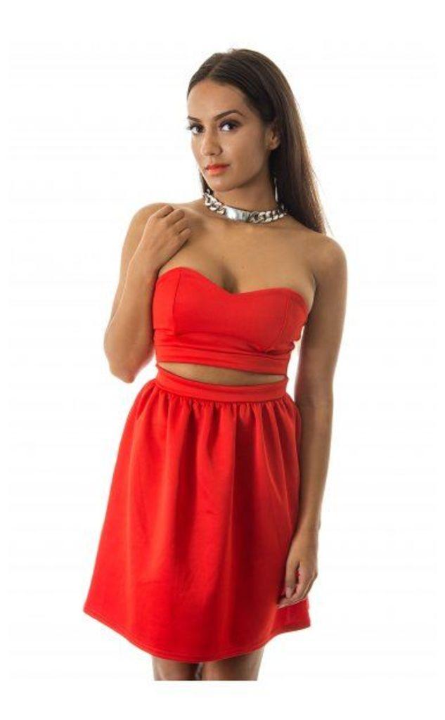 Red Alert Strapless Skater Dress