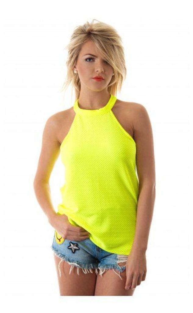 Bonita High Neck Neon Top In Lime