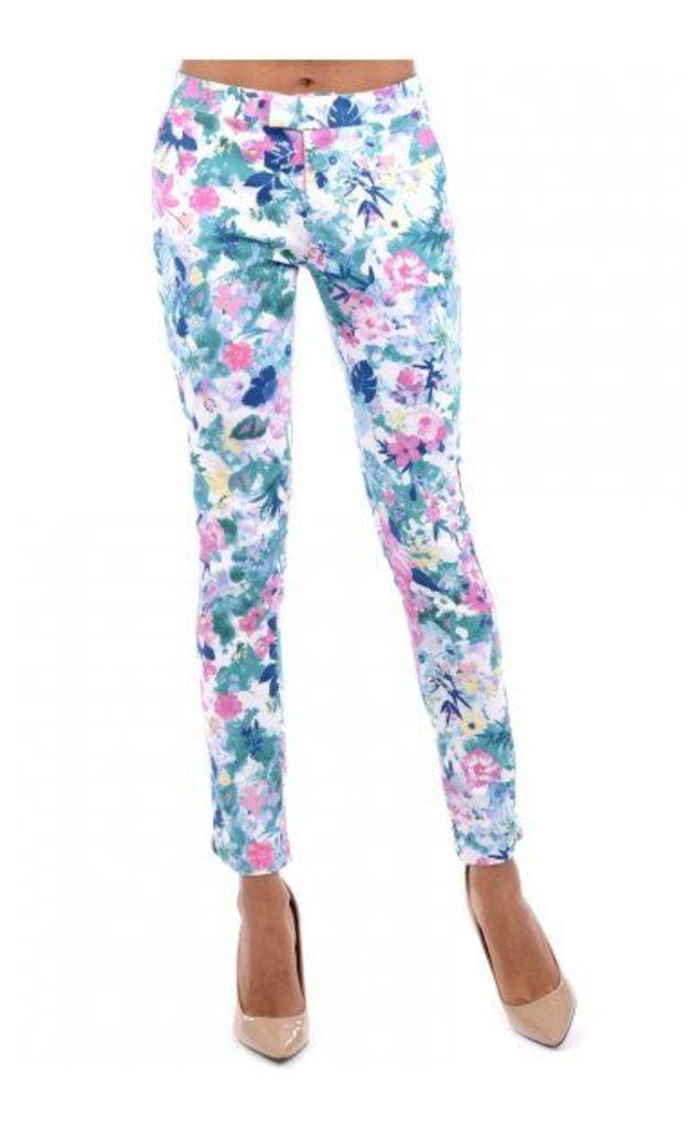 Floral Skinny Ankle Grazer Jeans In Blue