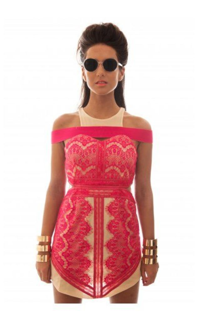 LUXE Pink Lace Smoulder Mini Dress